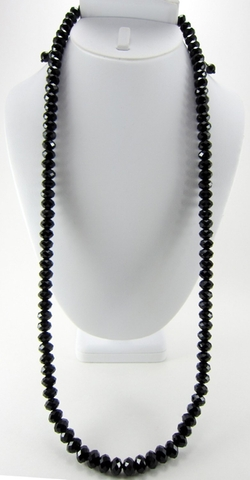 Hip Hop Jewels - All Black Faceted-Cut Bead Necklace