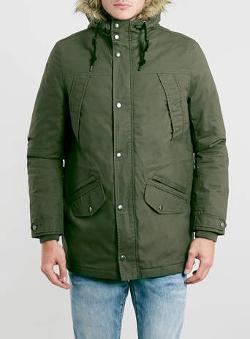 Topman - Khaki Heavy Weight Parka Jacket