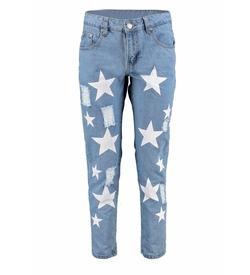 Boohoo Blue - Emily Star Print Boyfriend Jeans