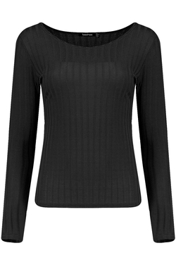 Boohoo - Bella Large Rib Long Sleeve Tee