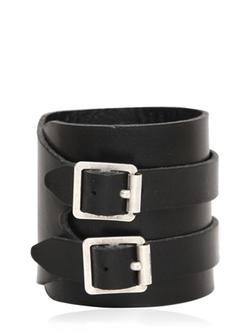 Saint Laurent - Double Buckle Leather Bracelet