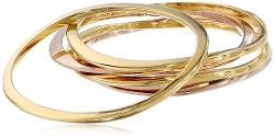 Jules Smith  - Surf 14k Gold and Rose Plated Bangle Bracelet Set