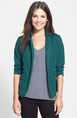 Olivia Moon  - Three Quarter Sleeve Knit Blazer