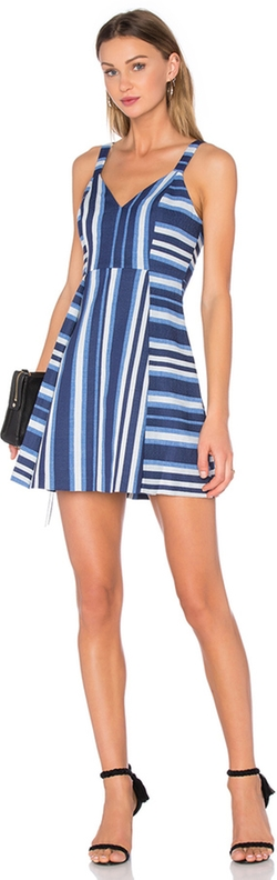 BCBGeneration - Cocktail Striped V Neck Dress