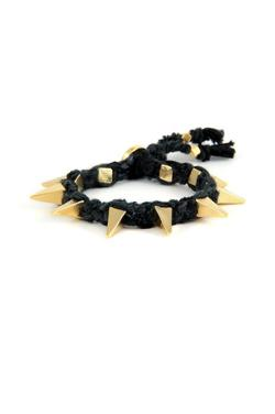 Ettika  - Ribbon Bracelet w Pyramid Spikes in Black