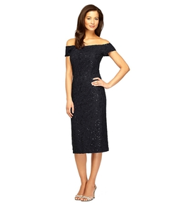 Alex Evenings - Off-The-Shoulder Lace Sheath Dress