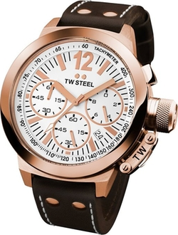 TW Steel - CEO Canteen Brown Leather White Chronograph Dial Watch