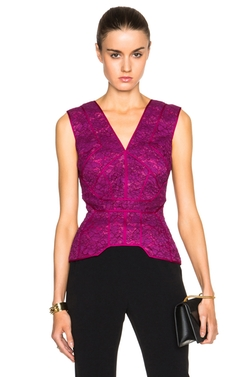 J. Mendel  - Floral Lace Deep V Neck Top