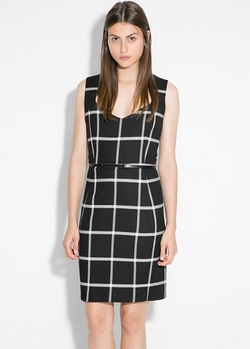 Mango - Check Belt Dress