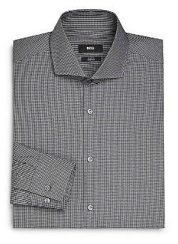 Boss Hugo Boss  - Slim-Fit Micro Check Cotton Dress Shirt