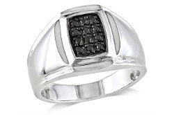 Ice - Black Diamond Sterling Silver Mens Ring