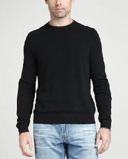 Neiman Marcus  - Contrast-Tipped Cashmere Pique Sweater, Black