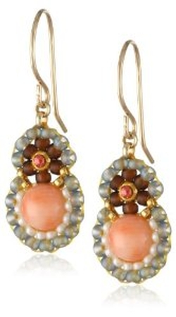 Miguel Ases  - Pink Coral and Swarovski Drop Earrings