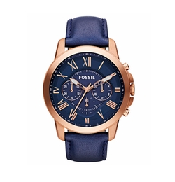 Fossil  - Grant Navy Leather Strap Watch