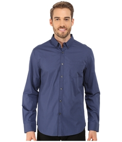 Kenneth Cole Sportswear - Long Sleeve One-Pocket Button Down Shirt