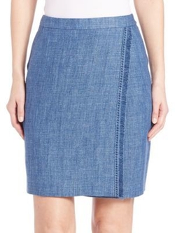 Akris Punto - Fringe-Trim Linen Pencil Skirt