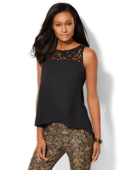New York & Company - Lace-Accent Pleated Shell Top