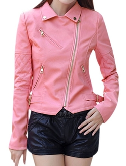 Uxcell - Collared Inclined Moto Jacket