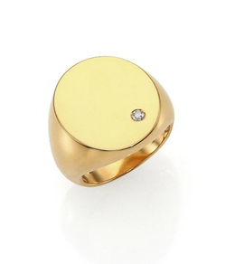 Jennifer Zeuner Jewelry  - Elizabeth Diamond Signet Ring