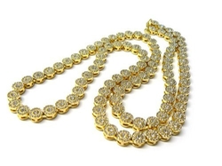 JOTW - Goldtone Iced Out  Sunflower Cluster Chain Necklace