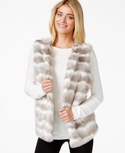 Alfani  - Striped Faux-Fur Vest