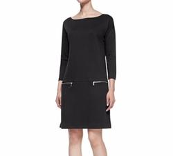 Joan Vass  - Knit Zip-Pocket Shift Dress