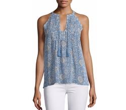 Joie - Shara Split-Neck Printed Silk Top