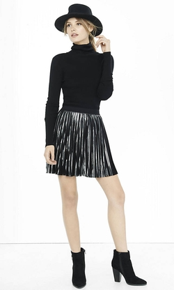 Express - Metallic Pleated High Waisted Skirt