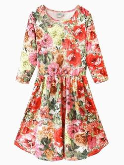 Choies - Red Floral Print Dress with Half Sleeve