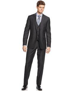 Bar III  - Charcoal Herringbone Slim-Fit Vested Suit