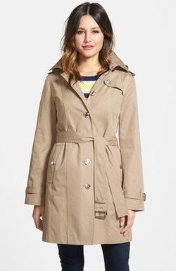 Michael Michael Kors - Single Breasted Hooded Trench Coat