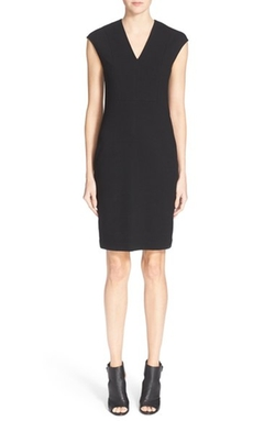 Vince  - Bib Detail V-Neck Sheath Dress