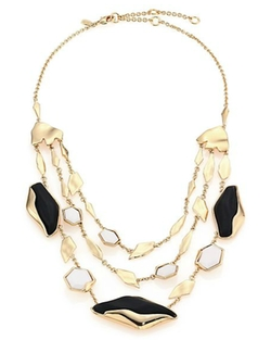 Alexis Bittar  - Lucite & White Agate Tiered Station Necklace