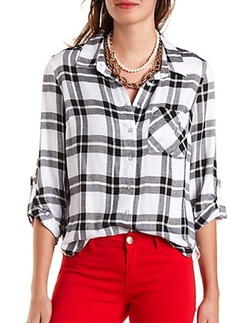 Charlotte Russe - Crochet Plaid Button Shirt