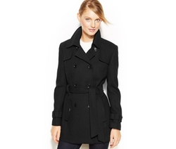 Calvin Klein  - Double-Breasted Belted Pea Coat