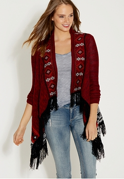 Maurices - Ethnic Borders And Fringe Blanket Cardigan