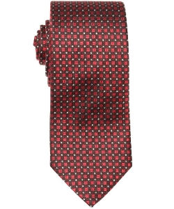 Zegna - Red and Brown Dot Square Pattern Silk Tie