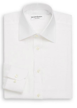 Yves Saint Laurent  - Regular-Fit Solid Linen Dress Shirt