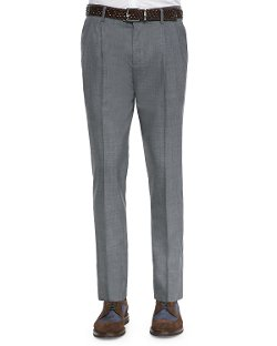 Brunello Cucinelli   - Double-Pleated Wool Trousers