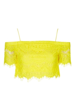Topshop - Lace Bardot Crop Top
