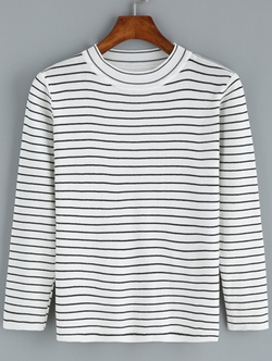 Romwe - Round Neck Striped Sweater