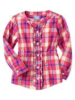 Gap - Factory Ruffle Trim Plaid Top