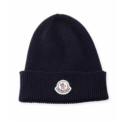 Moncler - Ribbed Wool Logo Beanie Hat