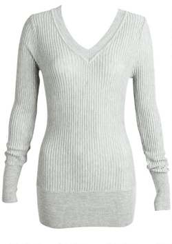 Alloy Apparel - Ribbed V-Neck Tunic Sweater