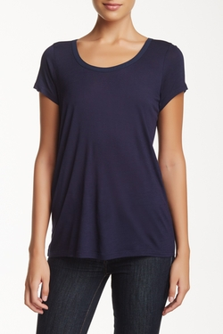 Vince.  - Satin Contrast Short Sleeve Scoop Neck Tee