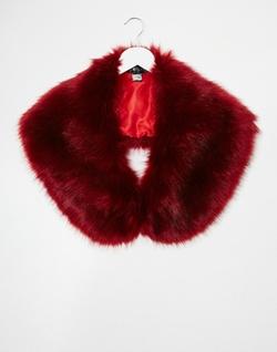 Jayley  - Burgundy Faux Fur Scarf