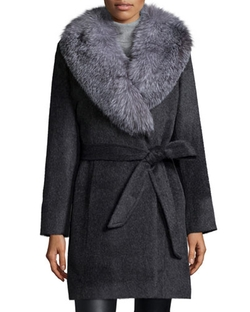 Sofia Cashmere - Wool-Cashmere Wrap Coat W/ Fur Collar
