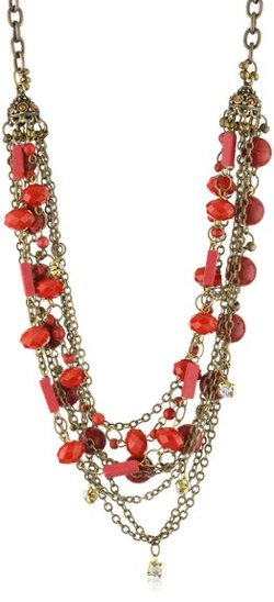 Sparkling Sage - Coral Multi-Stone Chain Necklace