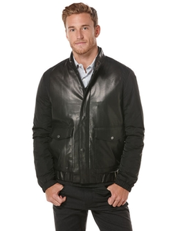 Perry Ellis - Faux Leather Bomber Jacket