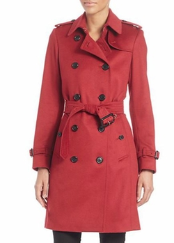 Burberry London - Kensington Parade Red Cashmere Trench Coat